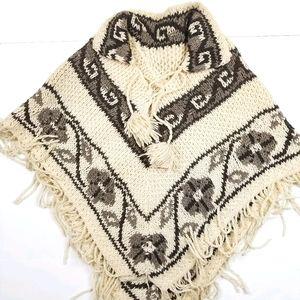 VTG 90's 00's Aztec Design Wool Knit Poncho